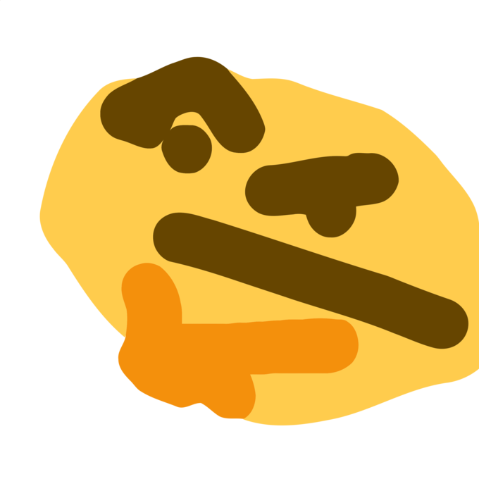 funny shaped thinking emoji