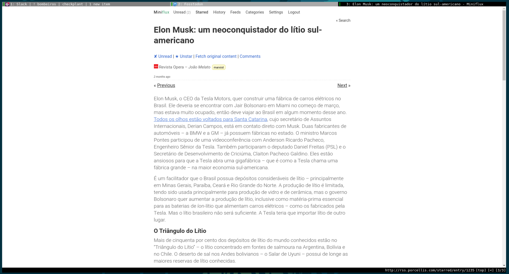 "A screenshot of a ""Revista Opera"" article entitled ""Elon Musk um neoconquistador do Lítio sul-americano"" (Elon Musk: a south-american lithium neoconqueror) on my hosted instance of miniflux with a light theme at qutebrowser."