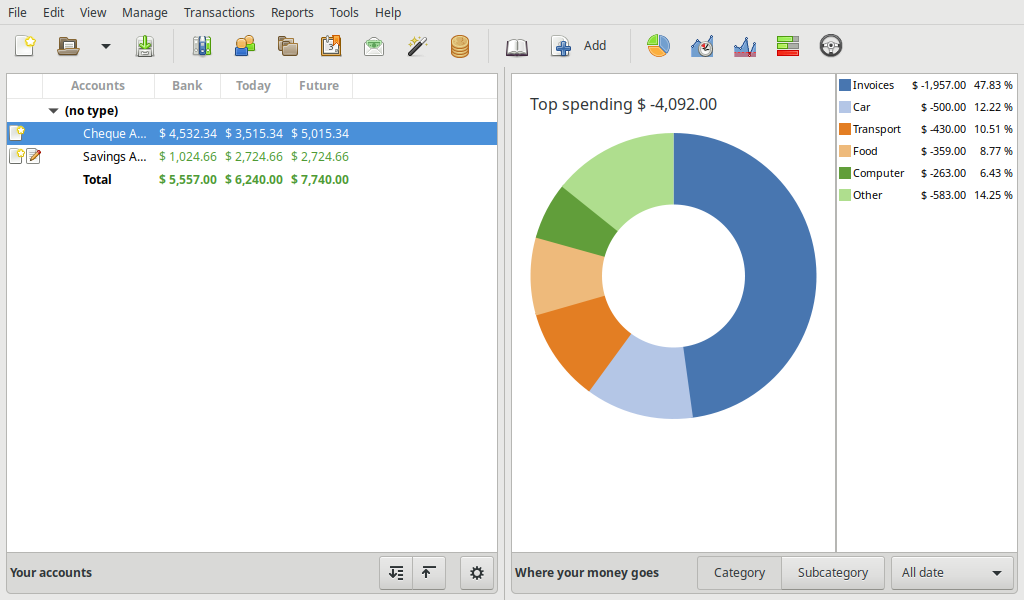 The main screen of an example HomeBank book, displaying the accounts and a spending doughnut chart.