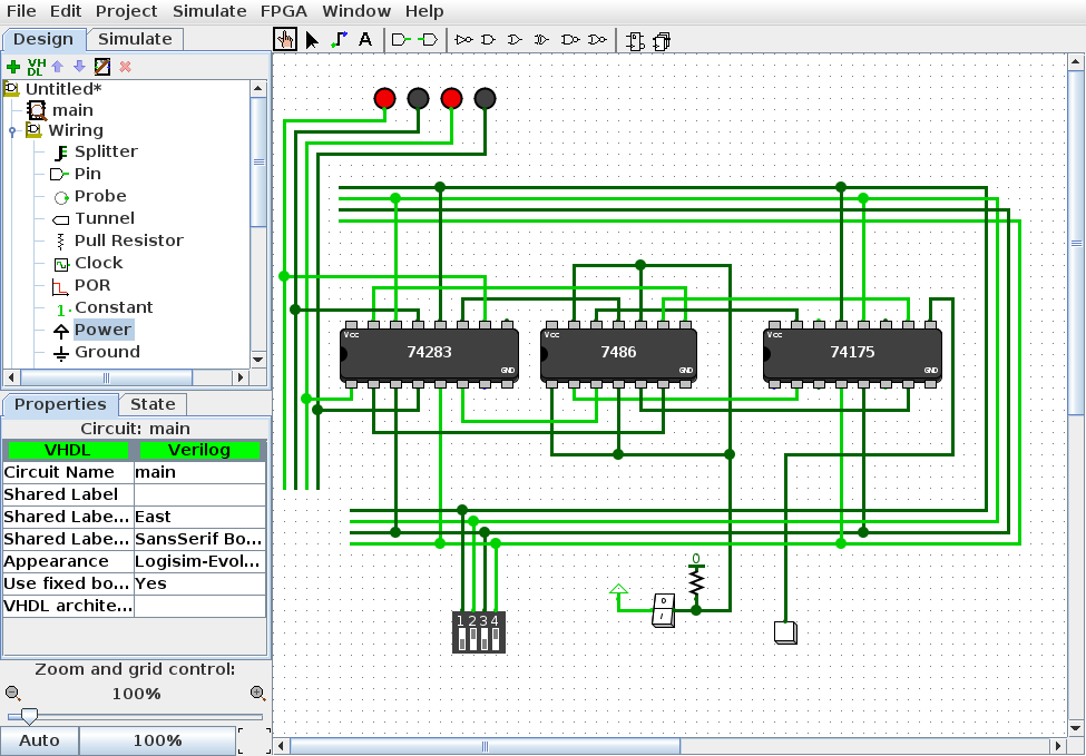 An adder/subtractor circuit in Logisim Evolution consisting of a 74 series four bit full adder, 74 series quad XOR gate, 74 series quad D flip flop, and several IO components.