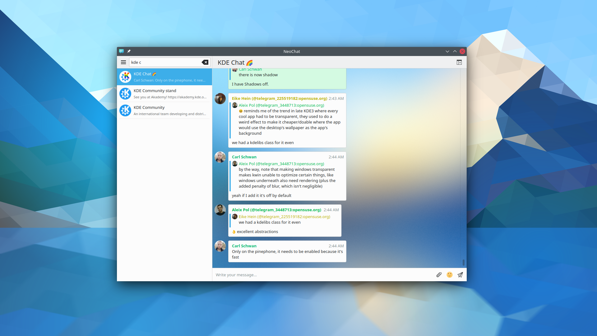screenshot of NeoChat with a fancy blur
